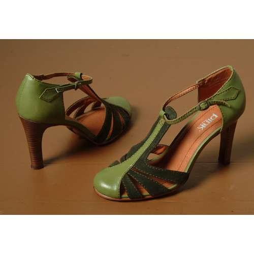 0909b63687d240 green t-strap heels