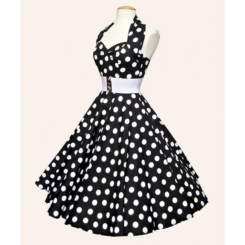 f35b135f050e9 50s Halterneck Polka dot Dress from Vivien of Holloway
