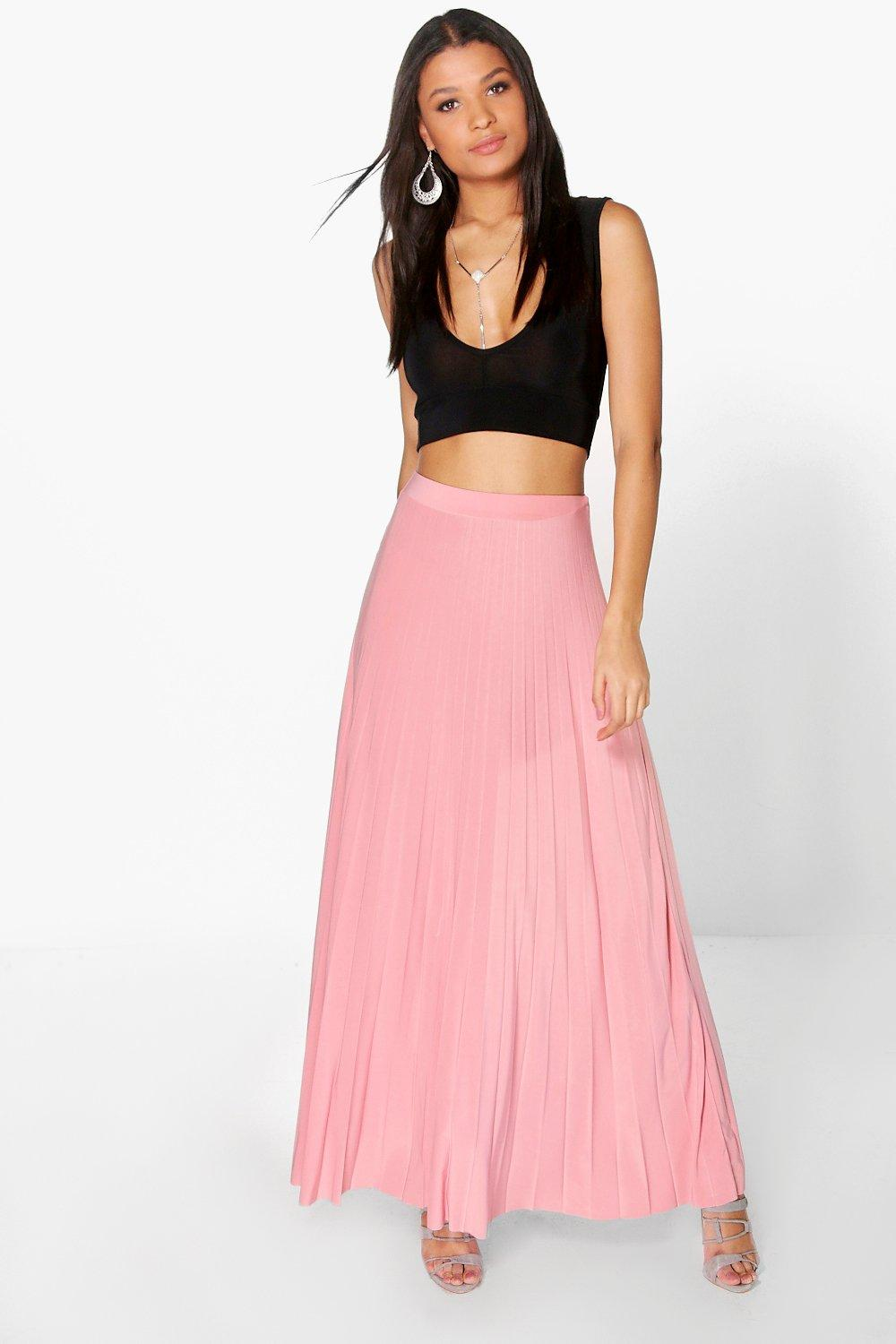 90a58c0594 Boohoo Tia Pleated Slinky Maxi Skirt in rose | ThisNext