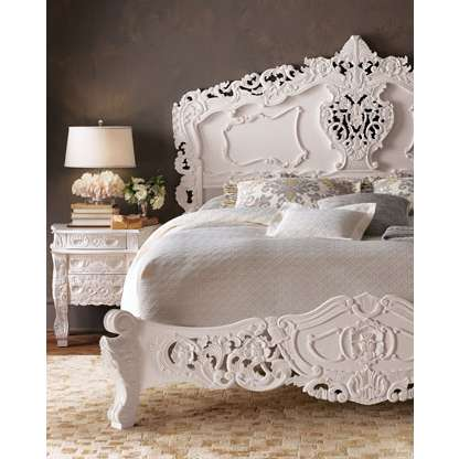 Vintage Glam Bedroom Furniture | Rococo Mahogany Carved White Wood Bed by  Horchow - Vintage Glam Bedroom Furniture Rococo Mahogany Carved White Wood