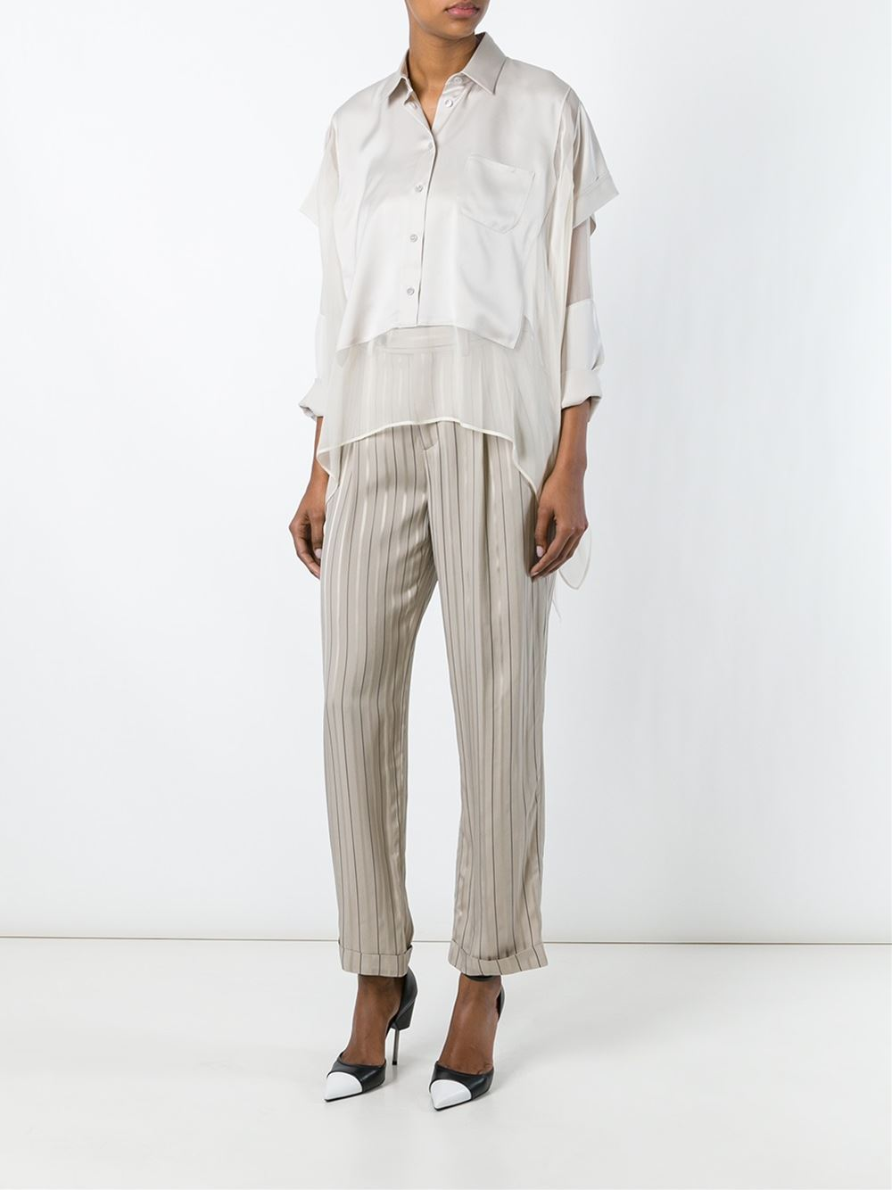 Maison Margiela Striped Straight Leg Trousers